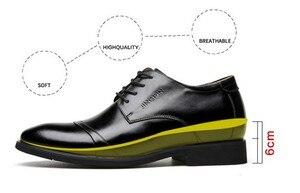 """Image 4 - Cyabmoz חדש גברים עסקי שמלת נעלי גובה הגדלת 6 ס""""מ קלאסי חתונה נעליים רשמיות גברים פרה פיצול עור מעלית נעליים"""