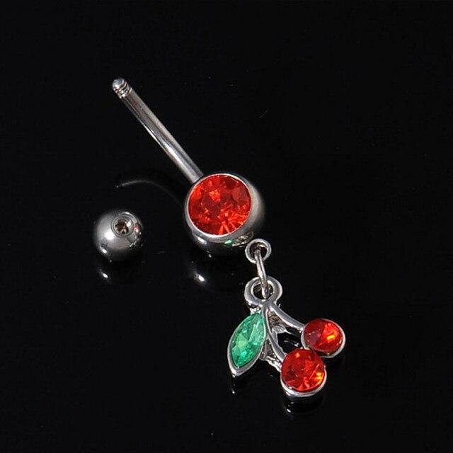 Милый пирсинг для пупка в виде вишни кольцо с красным кристаллом
