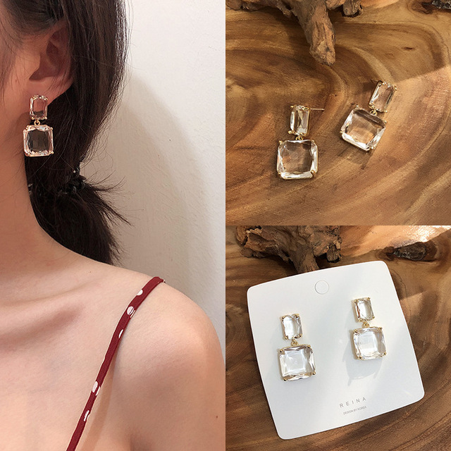 2019 Korean New Design Fashion Jewelry Double Square Earrings Luxury Transparent Glass Crystal Party Earrings for.jpg 640x640 - 2019 Korean New Design Fashion Jewelry Double Square Earrings Luxury Transparent Glass Crystal Party Earrings for women gift