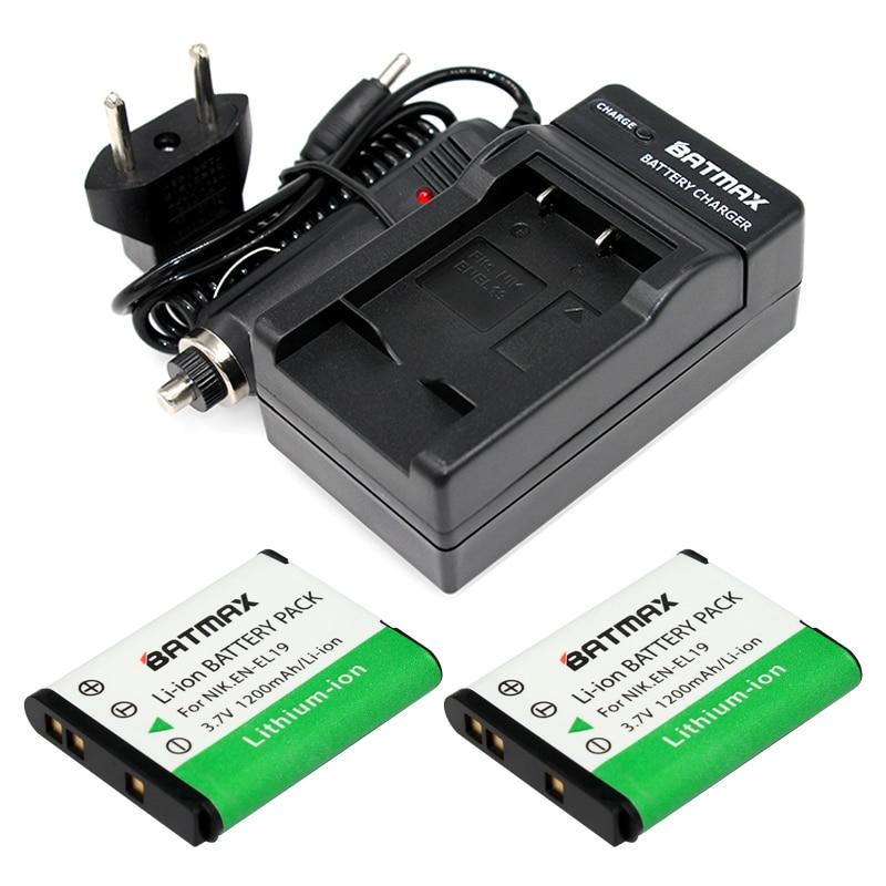 2 Pcs 1200 mAh EN-EL19 EN EL19 ENEL19 Caméra Batterie & Chargeur pour Nikon S2500 S100 S2600 S3100 S3200 S3300 S4100 S4200 S4300 S6600