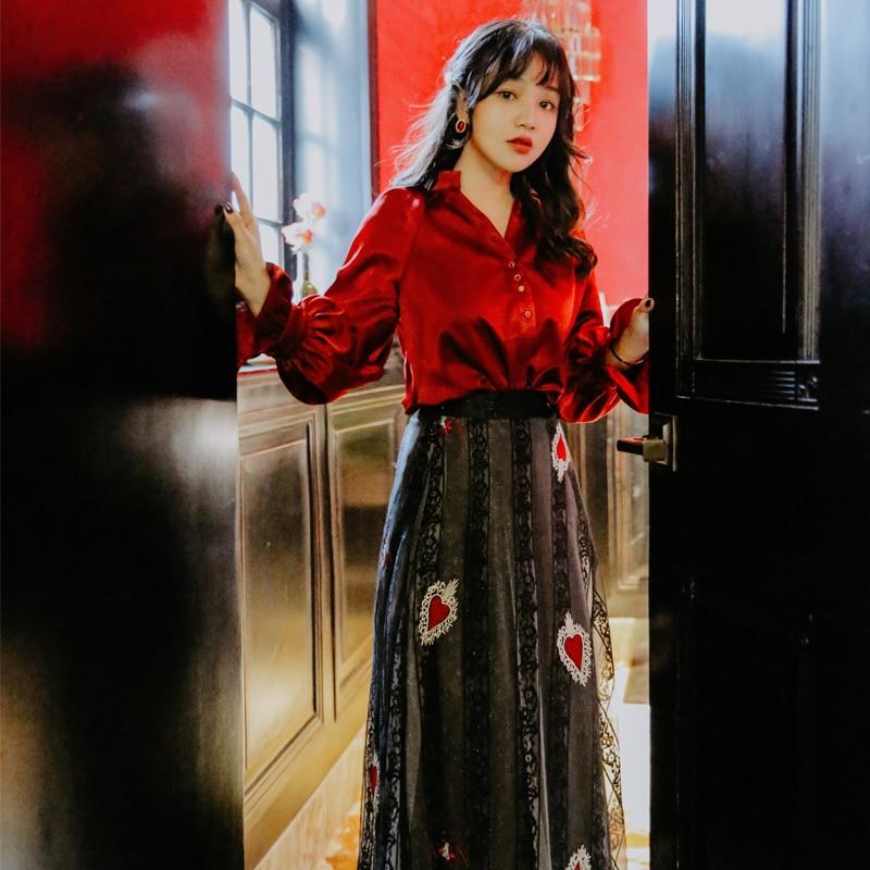 YOSIMI femmes 2 pièces ensembles costume Blouse + jupe deux pièces costume mi-mollet femmes robe 2019 printemps été rouge Vintage dentelle femmes ensemble