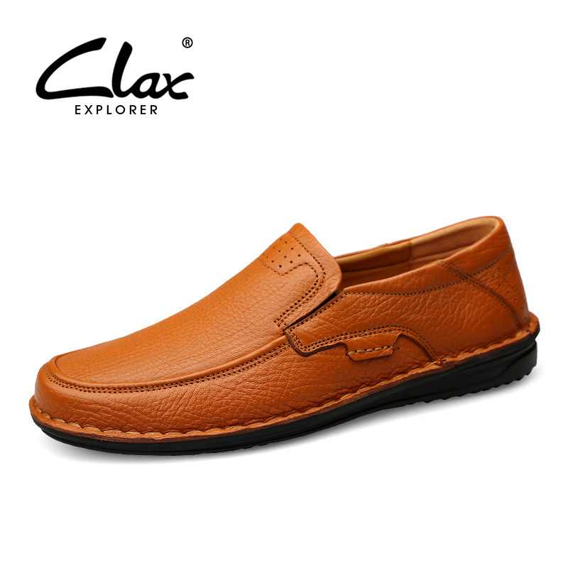 CLAX Mens Leather Shoes Genuine Leather 2019 Spring Summer Retro Designer Loafers Male Walking Footwear luxury