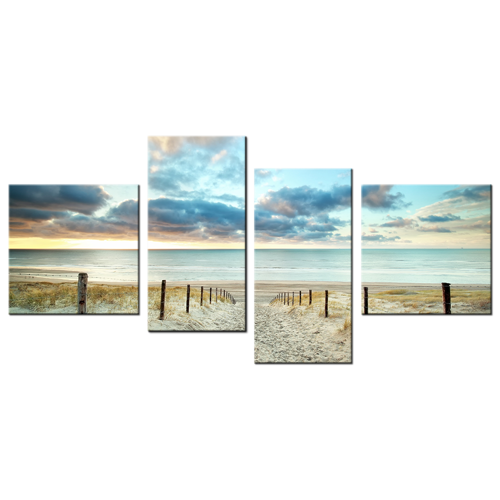 Hd Picture Sunset With Sand Beach Canvas Wall Art Modern