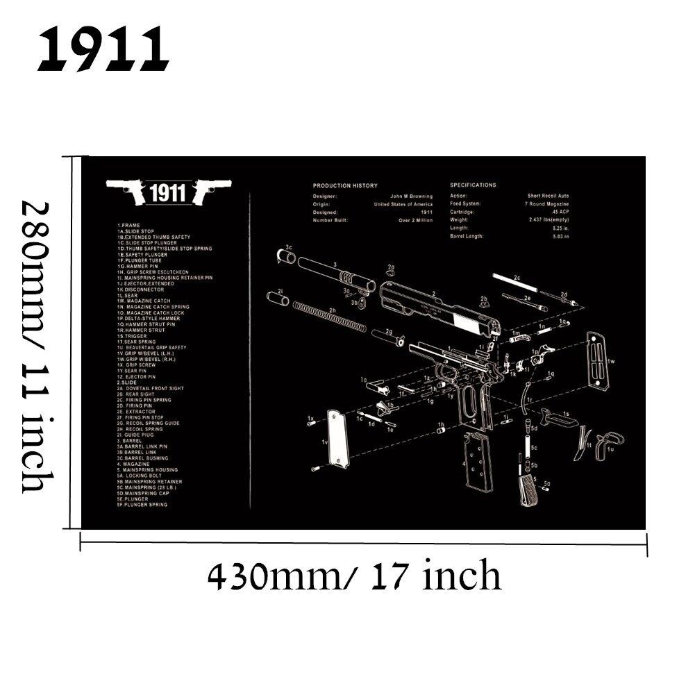 Большой чистящий коврик для ружья AR15 AK47 Glock 1911 SIG винтовка пистолет оружейный оружейник разборка ремонт набор инструментов для сборки скамьи колодки - Цвет: 1911