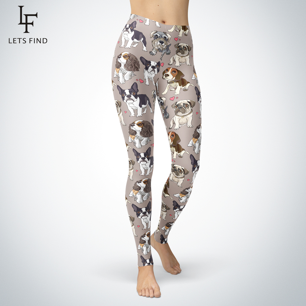 2019 New Cute Dog Leggings Casual Comfortable High Quality Fit Most Size Pants Mid Waist Workout Push Up Leggings Hot Sale