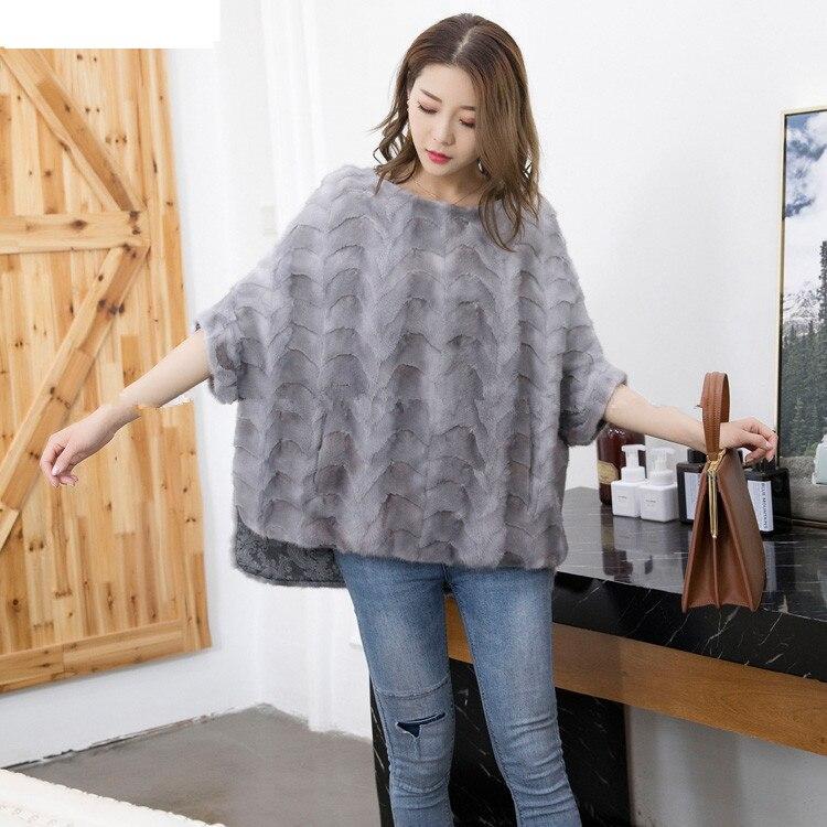Натуральный мех норки киска для девочек безразмерная, Зимний пуловер теплый серого, синего, красного и черного цветов, натуральный пальто с