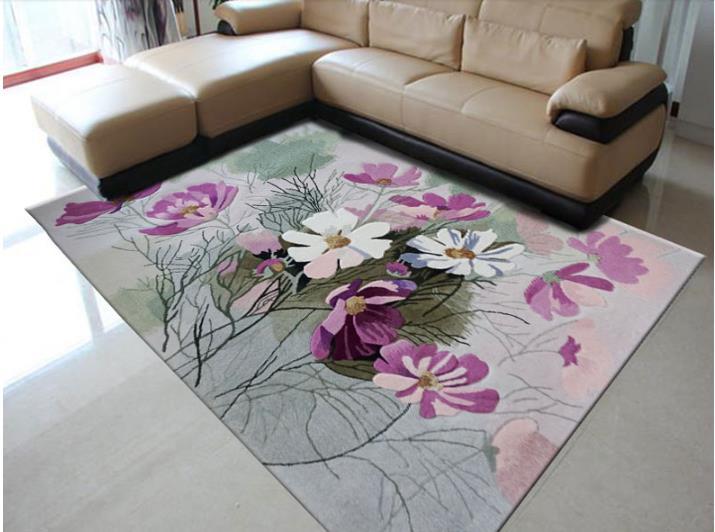 100% laine Floral tapis élégant américain rustique Floral salon tapis moderne européen tapis pour salon Designer rouge tapis