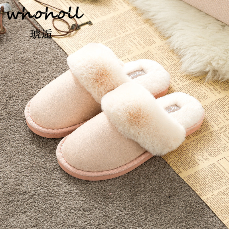 Whoholl Winter Warm Ful Slippers Women Slippers Cotton Sheep Lovers Home Slippers Indoor Plush Size House Shoes Woman Wholesale whoholl winter home slipper man despicable me minions indoor slippers plush stuffed funny slippers flock cosplay house shoes
