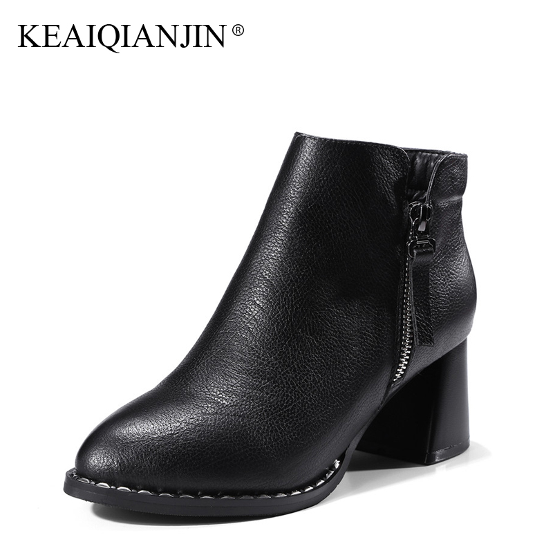 KEAIQIANJIN Woman High Heel Martins Boots Autumn Winter Plus Size 33 - 44 Shoes Zipper Black Genuine Leather Ankle Boots 2017