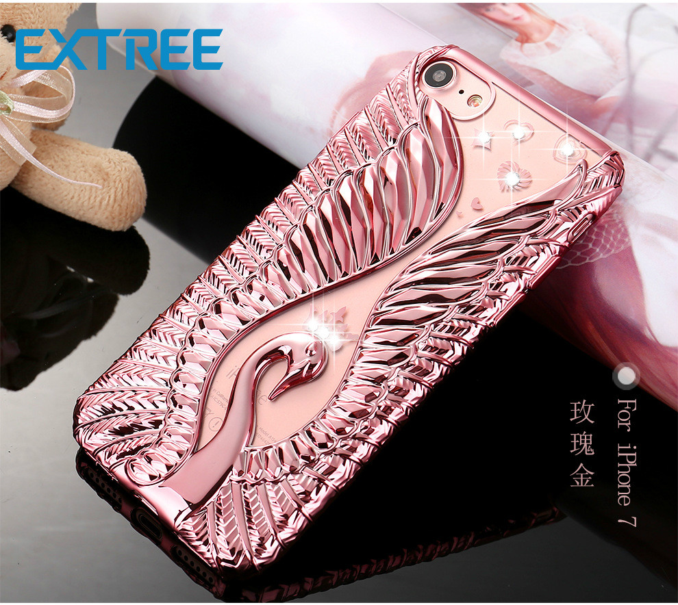 EXTREE Case for iPhone Swan Love Diamond iphone7plus Mobile Phone Case