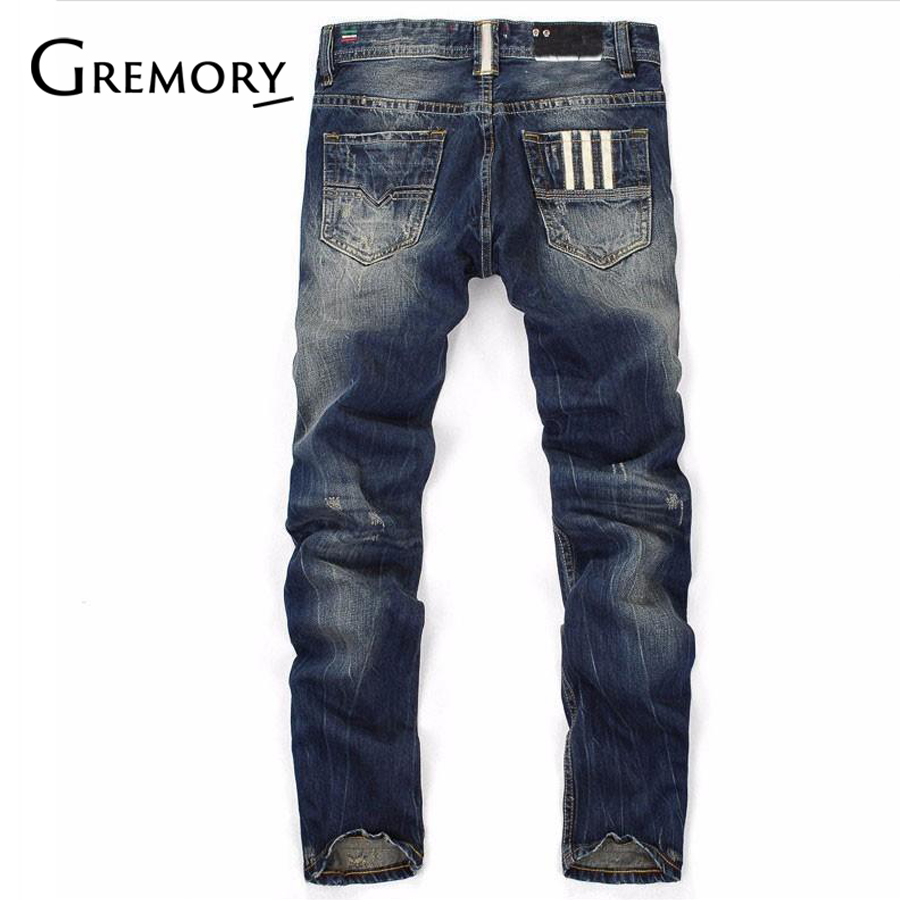 100% Cotton Famous Brand Fashion Designer   Jeans   Men Straight Dark Blue Color Printed Mens   Jeans   Ripped   Jeans   SA95
