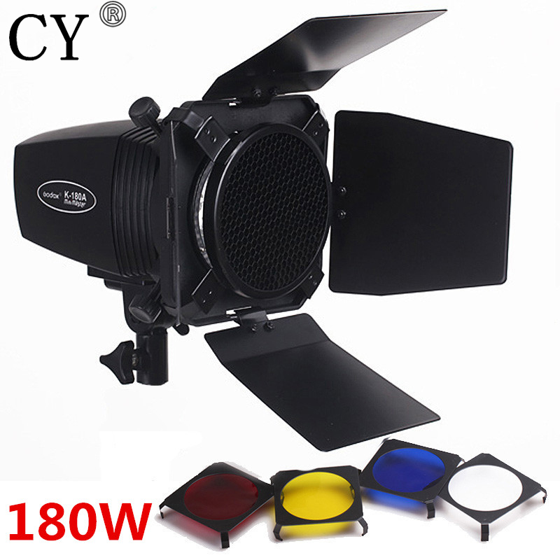 CY Photography Studio Flash Lighting Kits 180ws 220v Mini Flash Light+Light Barn Door & Honeycomb Grid & Gel Godox K-180A letspro ge 180 180w 5500k studio light black ac180 220v