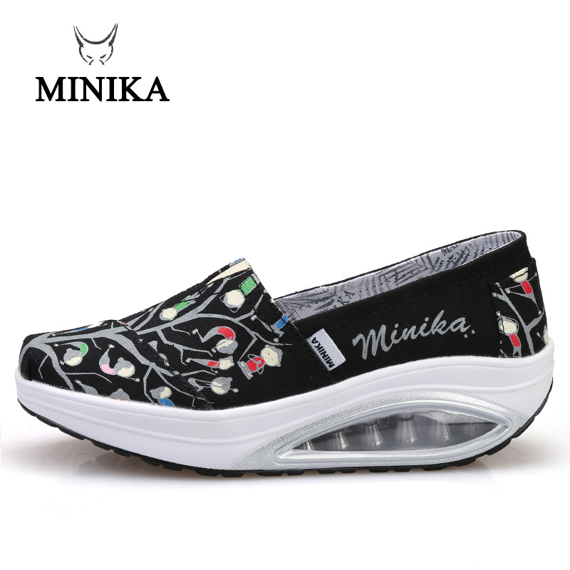 Minika Toning Shoes Wedges Loss-Weight Women Platform Canvas Trainers Sport-Swing Zapatos