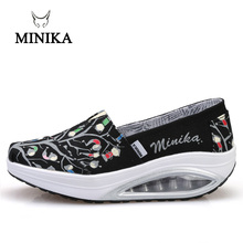 2018 Minika Fitness Shoes Women Sport Swing Wedges Platform Zapatos Mujer Canvas Trainers Loss Weight Feminino Toning Shoes стоимость