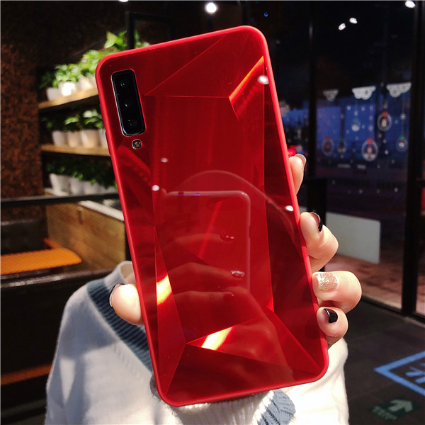 Luxury Diamond Texture case For Samsung Galaxy A9 A750 2018 A5 2017 Cover Thin Mirror Pattern For Samsung A6 A8 Plus Phone Case