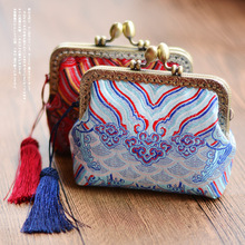 Angelatracy Custom Seawater Cliff Handmade Small Bag English People Silk Brocade Mouth Gold Package Tassel Wallet Coin Purse