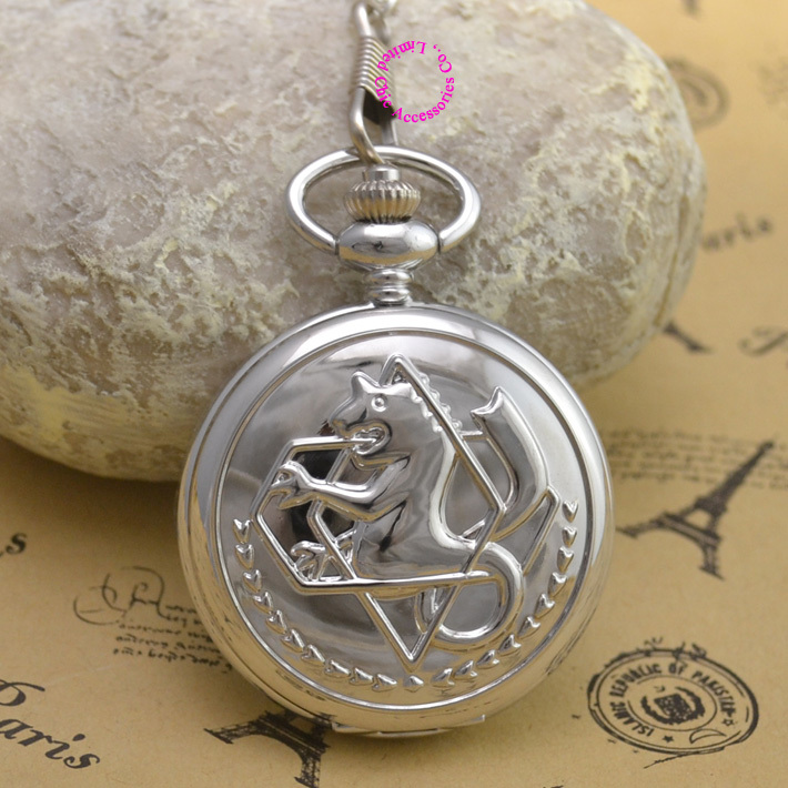 Fullmetal Alchemist Silver Pocket Watch men Cosplay Edward Elric with Chain Anime Boys Gift New man