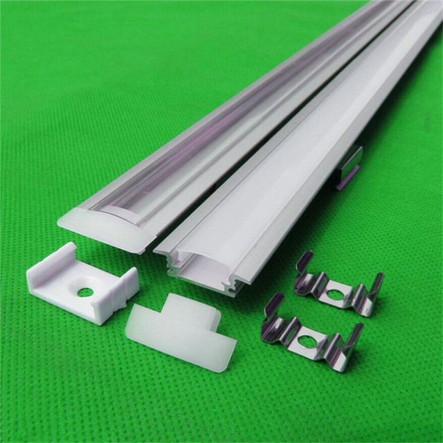 5-15 pcs/lot 1m aluminum profile for led strip,milky/transparent cover for 12mm pcb with fittings,embedded LED Bar  light