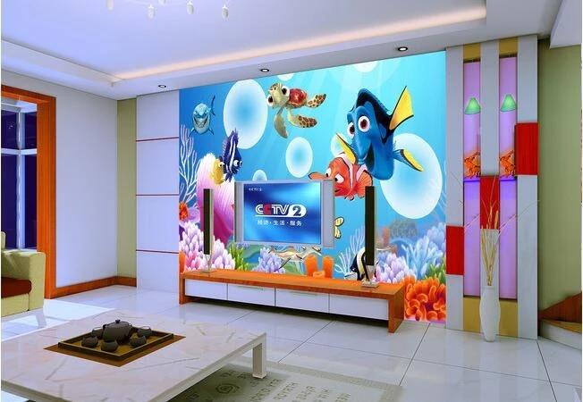 3d Wallpaper Custom Mural Non Woven Cartoon Underwater World Finding Nemo Tv Setting Paintings 3d Wall Room Murals Wall Paper Paper Paper Samplerpaper Sleeve Aliexpress