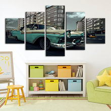 Home Decoration Canvas Retro Car Painting Wall Art Building Landscape Posters Modular Pictures Framework For Bedside Background(China)