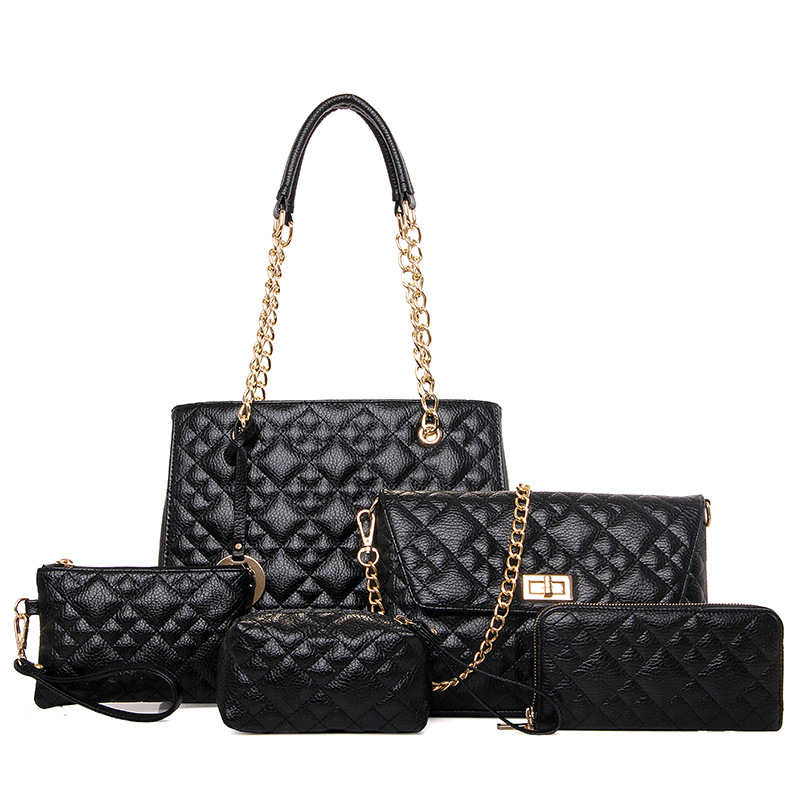 5 Sets Handbag New Fashion PU Leather Women Big Shoulder Bags Zipper Soft Ladies Bag High Quality Bolsas Femininas Plaid&Chians new arrival women handbag fashion pu leather women big shoulder bags zipper soft ladies bag high quality valentine tote bag