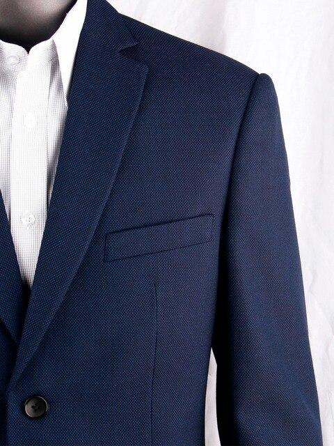 紺くぎの頭ビジネス男性スーツカスタムメイドスリムフィットウールブレンド鳥の目の結婚式のスーツ、テーラーメイド新郎スーツ