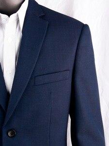 Image 1 - Costume daffaires pour homme, bleu marine, costume daffaires, Slim, sur mesure, costume de mariage avec œil doiseau en laine