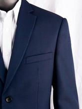 Granatowy Nailhead biznes garnitury męskie Custom Made Slim Fit mieszanka wełny garnitury ślubne dla mężczyzn, szyte na miarę garnitur pana młodego