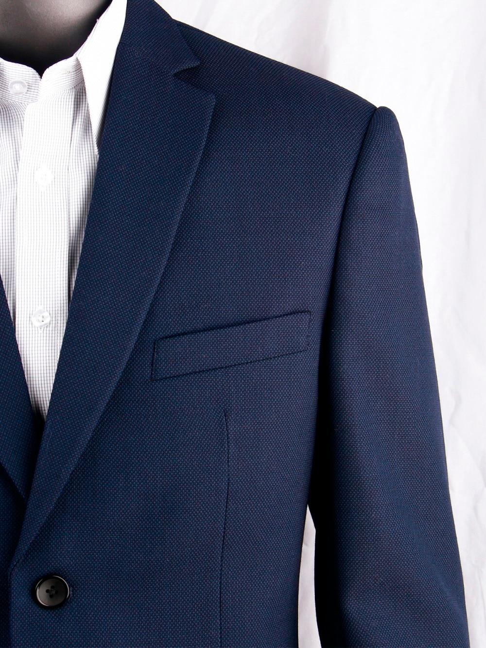Navy Blue Nailhead Business Men Suits Custom Made Slim Fit Wool Blend Bird-eye Wedding Suits For Men, Tailor Made Groom Suit