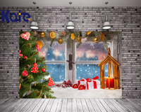 Kate Backdrops Fotografia Christmas Tree Frozen Winter Snow Backgrounds For Photo Studio Window Red Glass Baubles Photography