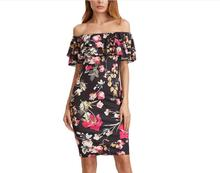 Summer Dress slash neck Women Short Sleeve Multicolor Floral Print Off The Shoulder Ruffle Sheath Dress Sexy vestidos beach dres