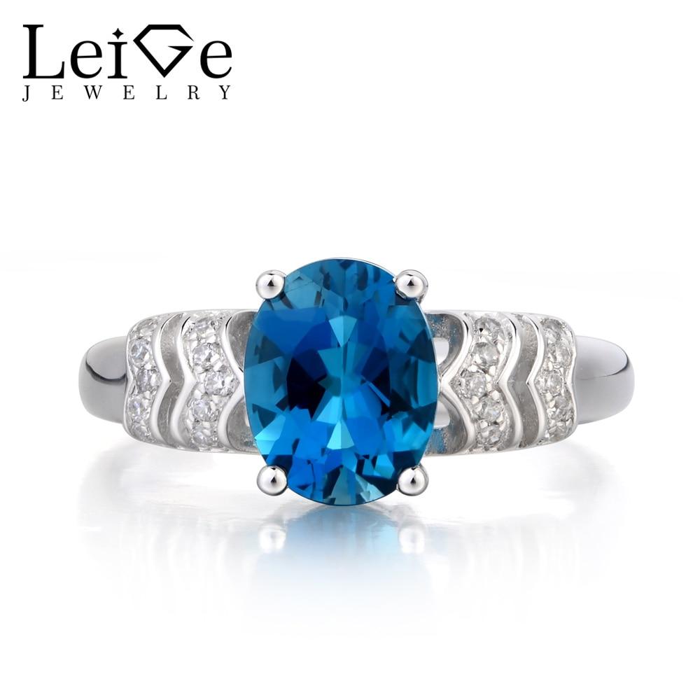 Leige Jewelry London Blue Topaz Ring Anniversary Ring November Birthstone Oval Cut Blue Gemstone Solid 925 Sterling Silver Ring vera blue london