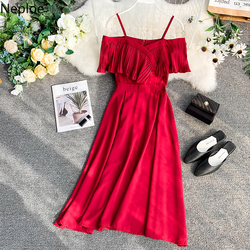 Neploe Sweet Spaghetti Strap Women Dress 2019 Solid Slash Neck Short Sleeve Vestido England Style Chiffon A-Line Robe 43088 3