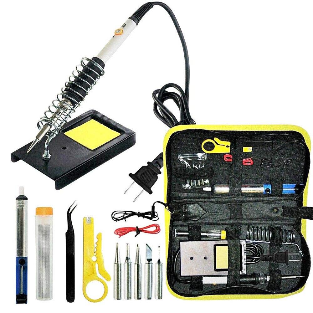 Adjustable Temperature Electric Soldering Iron Gun Set 60W Welding Tool Kit Case