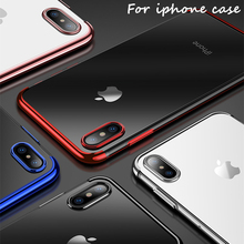 Perciron Luxury Plated TPU Case For iPhone X 10 Transparent Ultra Thin Silicone Cover 7 6 6S 8 Plus Phone Accessories