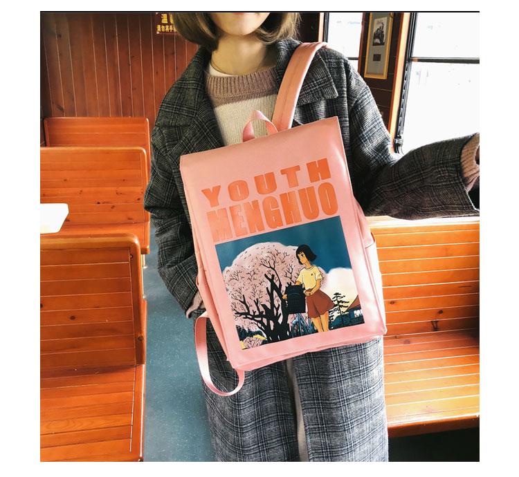 Menghuo Women Backpacks Animation Figure Printed Girls Students School Shoulder Bag for Teenage Girls Backpack Ladies Mochilas--_16