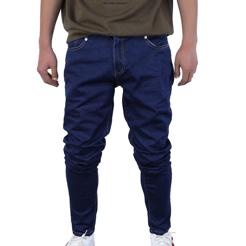 MoneRffi Skinny Jeans Men Drawstring Slim Denim Joggers Stretch Male Jean Pencil Pants Blue Men's Jeans Fashion Casual Hombre(China)