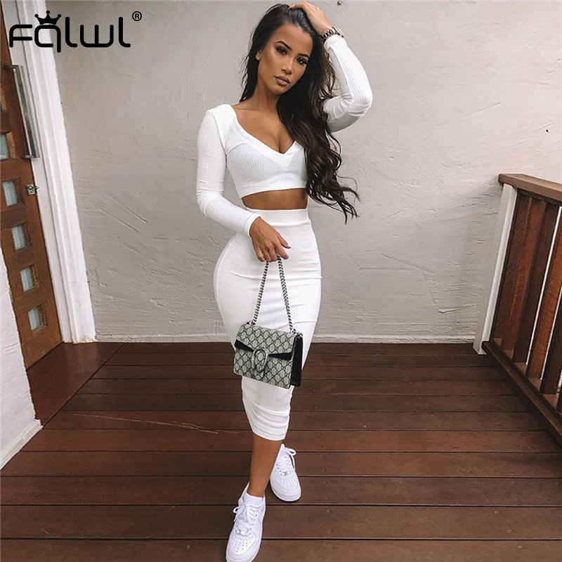 FQLWL Casual Two Piece Set Summer Knitted Dress Women Long Sleeve White Sexy Bodycon Long Dress Wrap Club Party Maxi Dresses