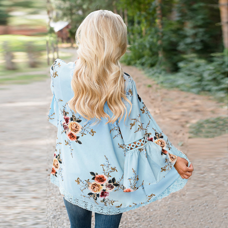 HTB1hy1nrwmTBuNjy1Xbq6yMrVXa5 Autumn 2019 Boho Women Jacket Lace Flare Long Sleeve Slim Casual Open Stitch Tops Fashion Women Clothes Spring Shirt Coat Jacket
