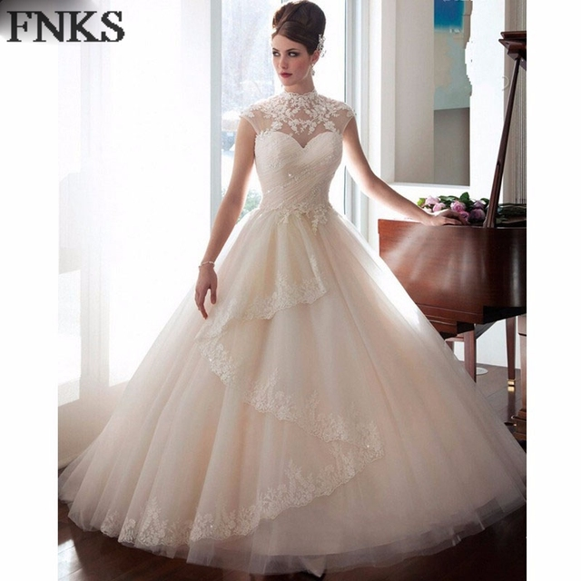 Vestido De Noiva De Renda High Collar Wedding Dresses 2017 Cap