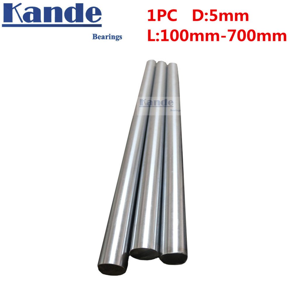 Kande Bearings 1pc d: <font><b>5mm</b></font> 3D printer <font><b>rod</b></font> <font><b>shaft</b></font> <font><b>5mm</b></font> linear <font><b>shaft</b></font> chrome plated <font><b>rod</b></font> <font><b>shaft</b></font> CNC parts 100mm 100-600mm hardened image