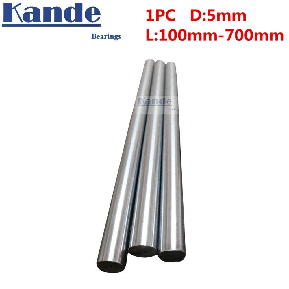 Rodamientos Kande 1 unid d: Eje de varilla de impresora 3D de 5mm eje lineal cromado eje de varilla CNC piezas 600mm 100mm 100 endurecido
