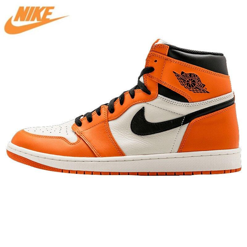 Nike Air Jordan 1 Retro High OG AJ1 Белый Оранжевый Белый отскок Для Мужчин's Баскетбольные кеды, оригинальный открытый Спортивная обувь 555088 113