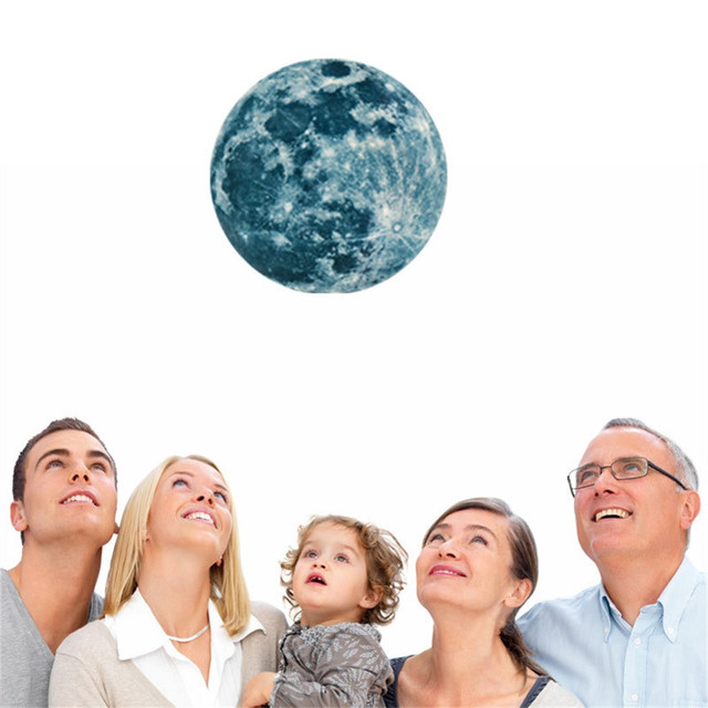 Luminous Moon Earth Cartoon 3D Wall Stickers for Kids Room Bedroom Glow In The Dark Wall Sticker