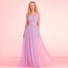 ad6cdb0d1039 New V Neck A Line Simple Long Bridesmaid Dresses Maid Of Honor Gown for  Wedding Lavender Tulle Cheap Party Gowns