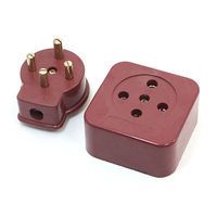 Brick Red Round Pin 3 Phase 4 Wire 3P4W Industrial Socket Plug Set 32A AC 440V