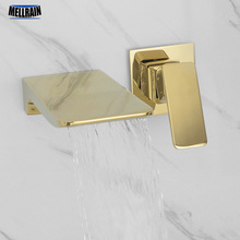 Wall Mounted Waterfall Bathroom Faucet Sold Brass Luxury Polish Gold Basin Water Hot & Cold Black Rose Brushed