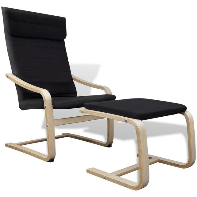 IKayaa sillón negro reposabrazos y reposapiés de madera curvada ...