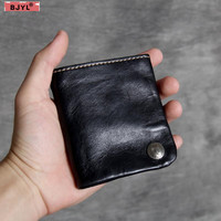 BJYL Retro vegetable tanned Men short wallet first layer cowhide simple men's handmade short clip card holder purses wallet