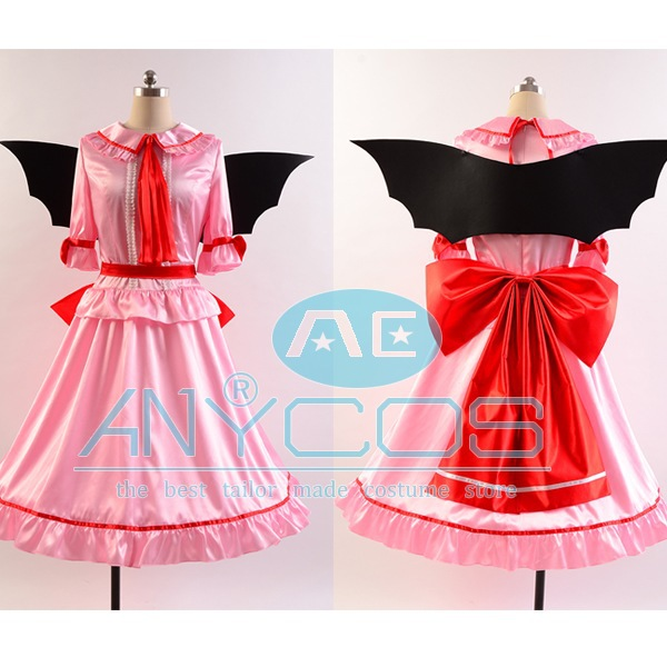Touhou Project the Embodiment of Scarlet Devil Remilia Scarlet Women Girls Summer Style Dress Wings Halloween Cosplay Costume